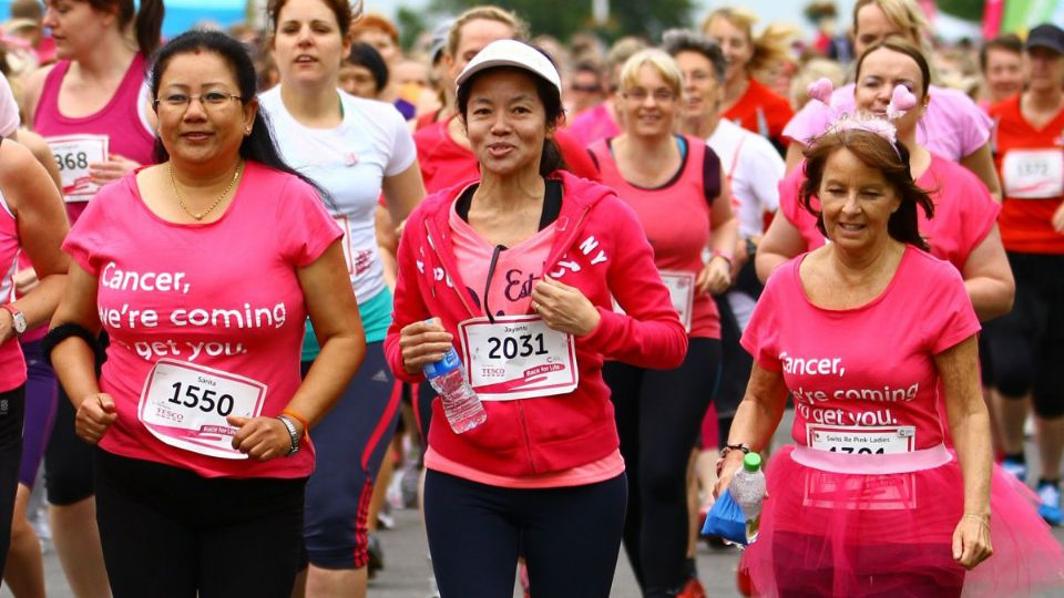 Pink-clad runners