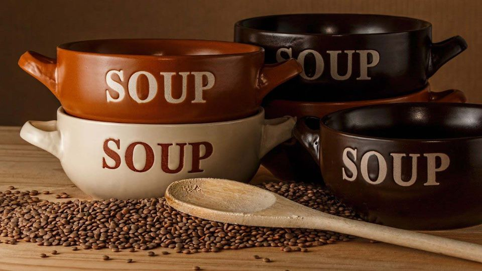 Empty bowls of soup