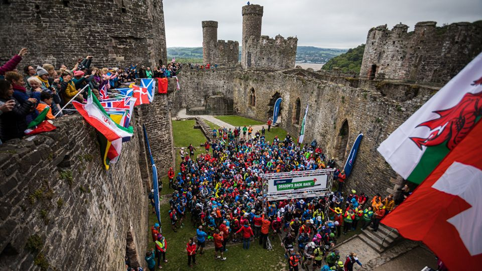 Start of the Dragon's Back Race from Conwy Castle