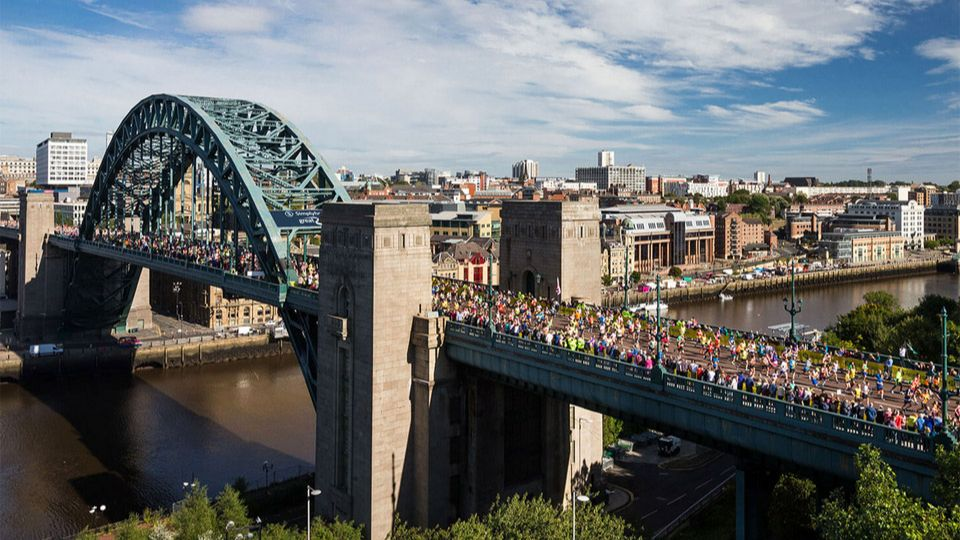 Great North runners crossing the Tyne Bridge