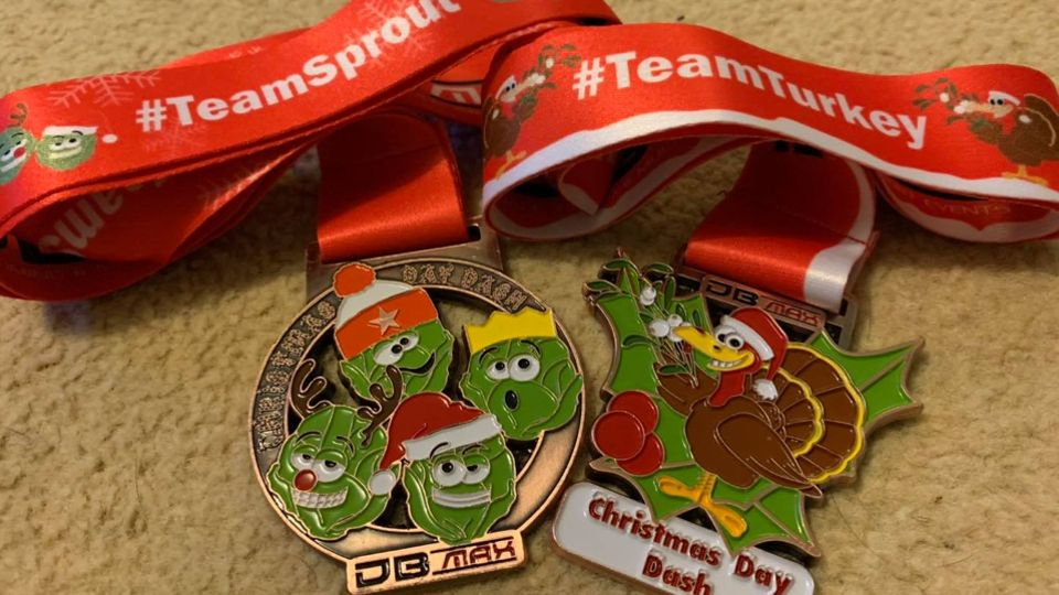 Turkey and sprout medals for the Christmas Day Dash Virtual Run