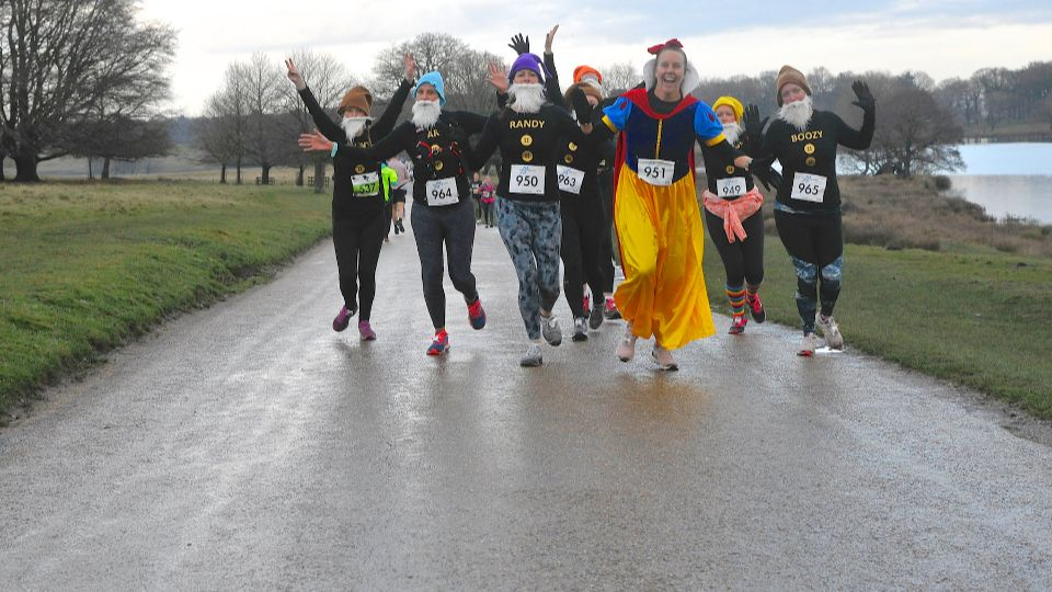Snow White and the Seven Dwarfs at the Tatton 10K December