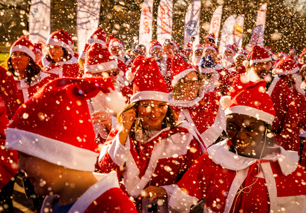 Group of Santas in a snow flurry