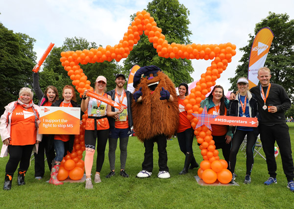MS Superstars celebrate after Edinburgh Marathon