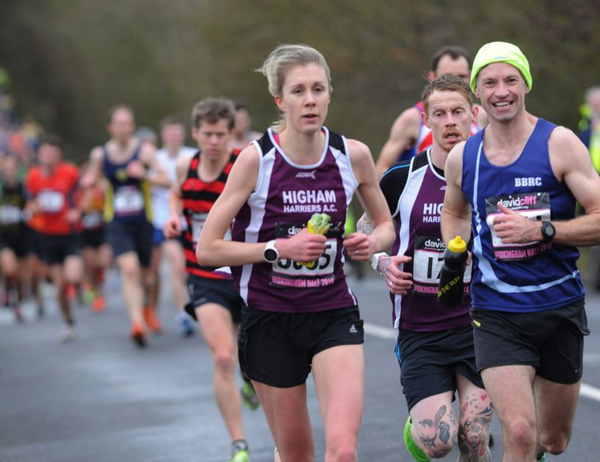 Enthusiastic runners in action at Wokingham Half