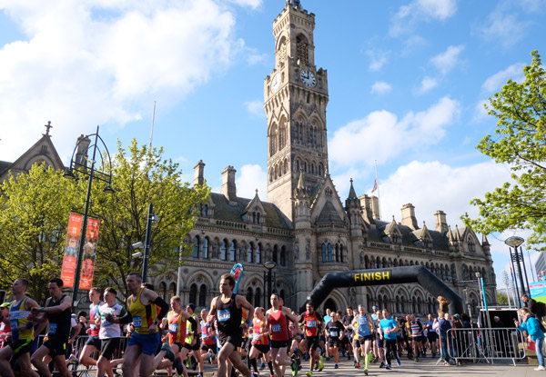 Runners at the Town Hall at Bradford 10K