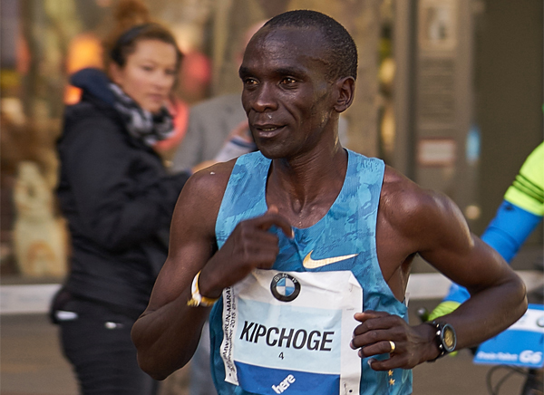 Eliud Kipchoge in race action