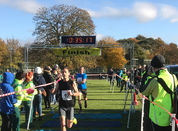 action from the finish at the Bonfire Burn 10K