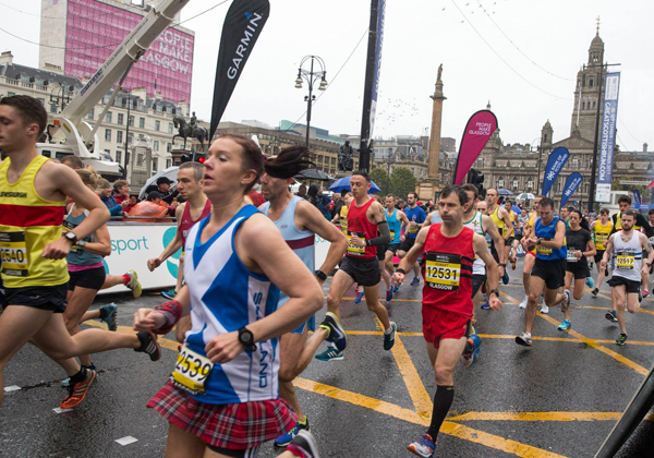 runners in George Square at Great Scottish Run