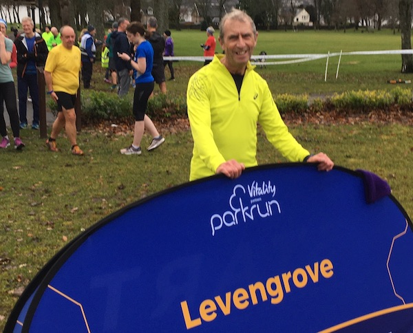 Happy runner at Levengrove parkrun