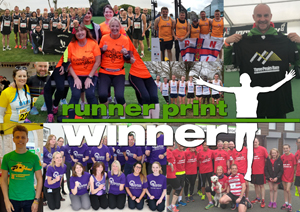 a collage of happy RunnerPrint Winner customers